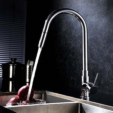 Cu tutti americani tirato cucina acqua di rubinetto miscelatore lavandino piatti caldi e freddi e cucina di rotazione rubinetto