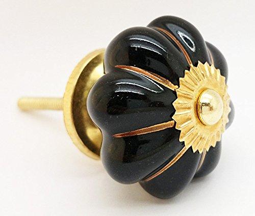 Colore oro nero a strisce melone ceramica porta manopola vintage shabby chic cassettiera maniglione