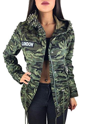 Worldclassca Damen Camouflage Parka Jacke MILITÄR GRÜN ÜBERGANGSJACKE Mantel Nieten Retro Blouson Army Parka LANG MIT REIßVERSCHLUSS Kapuze Zip (XL, Camouflage 1)