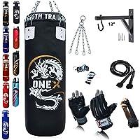 2ft,3ft,4ft,5ft Boxing Set Punch Bag Heavy Filled bag Gloves Bracket Hook Chains