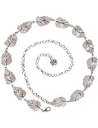 cinturón compuesto de varias hojas color plata