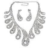 Versilbert Strass Braut Schmuck Set Ohrring + Kette Halskette für Hochzeit TOP