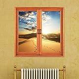 Wandtattoo Dekoration fürs Wohnzimmer Kinderzimmer Wandsticker Herausnehmbar Wandaufkleber Wohnzimmer Abnehmbarewandtatoos wohnzimmer Dreidimensionale Fenster Fenstergitter Simulation Fenster Malerei selbstklebend (58 * 58)