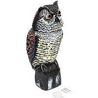 Crewell Fake Owl Decoy - Espantapájaros para pájaros y pájaros con cabeza giratoria, control de plagas, corona, espantapájaros de jardín, pájaros, gaviotas y cortadoras de fila