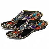 AR Women Girls PartiWear Hand Embroidery Round Jaipuri Sandal Chappal 601{Size:9}