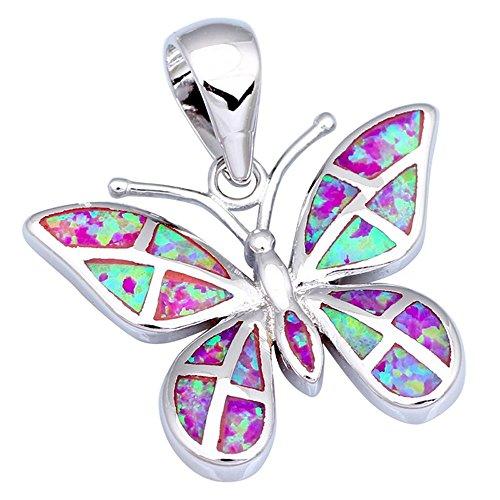 Noblest farfalla rosa opale di fuoco gioielli alla moda gioielli in argento pendenti all' ingrosso e al dettaglio P237