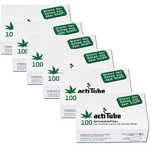 600 actiTube Aktivkohlerfilter (6x100). Mehr Rauchgenuss durch Aktivkohle