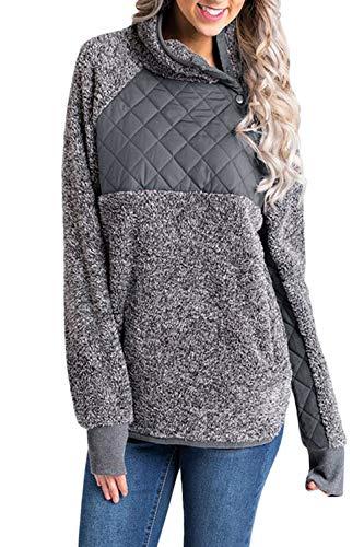 Damen Wolle Pullover Pulli Locker Split Lange Ärmel Top Hemd grau XL - Split-wolle Pullover