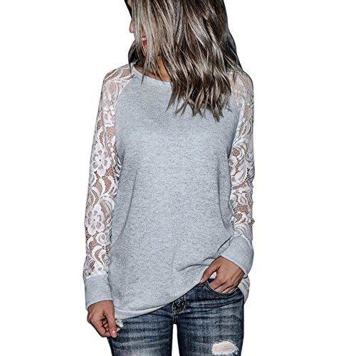GOKOMO Langärmliges T-Shirt mit Rundhalsausschnitt Art- und Weisefrauen beiläufige Spitze-Lange Hülsen-Ernte-Oansatz Pullover-T-Shirt Bluse Oberseiten(Grau,Small)