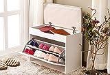 Weiju FMJ-FXT 60CM 2 Tier Storage Schuh Schrank, weiß Schmalen Schuh Bank mit Kissen und Sitz, große hölzerne Prime Schuhe Rack für Wohnzimmer, Flur, Eingang, ect.