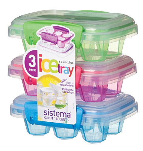 Sistema Klip It Accents Collection Set of 3 Ice Cube Trays with Covers, Assorted Colors by Sistema -
