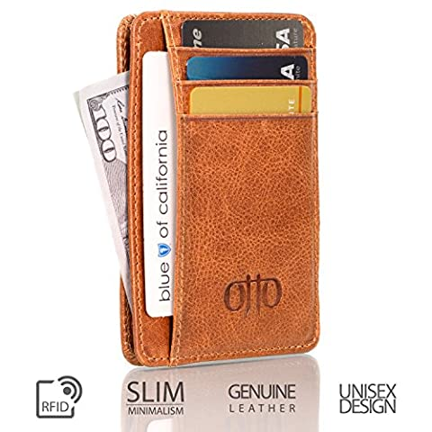 Otto Genuine Leather Wallet |Bank Cards, Money, RFID BLOCKING| - Unisex (Brown)
