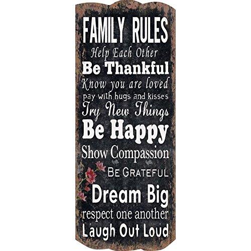 Wandgarderobe im Vintagestil aus Massivholz mit 6 Wandhaken Flurgarderobe im Shabby Chic Stil Neues Modell 2018 (Family Rules)
