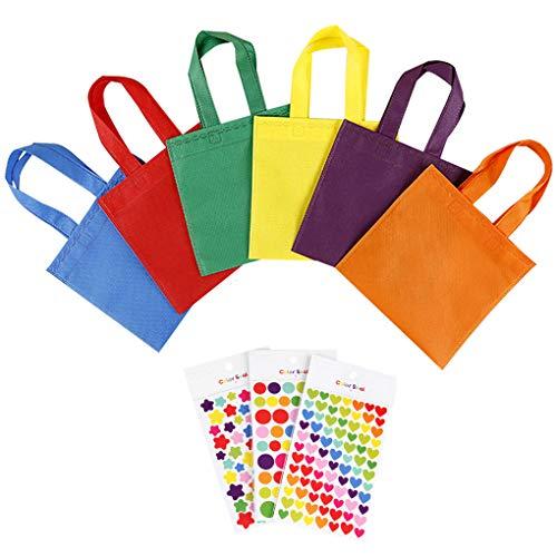 Rolin Roly Geschenktüten Nicht Gewebte Taschen Non Woven Gift Bags Wiederverwendbare Tragetaschen Stoffbeutel zum Bemalen Einkaufstasche (24 stück Taschen + 18 Stück Aufkleber)