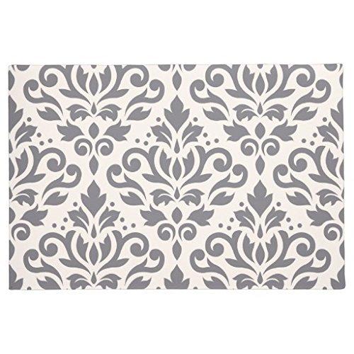 Auf Einem Damast Teppich (Funny Gummi Fußmatten Damast Muster Grau auf Creme Fußmatte vorne innen Welcome Teppich 60x 40cm Home Matte)