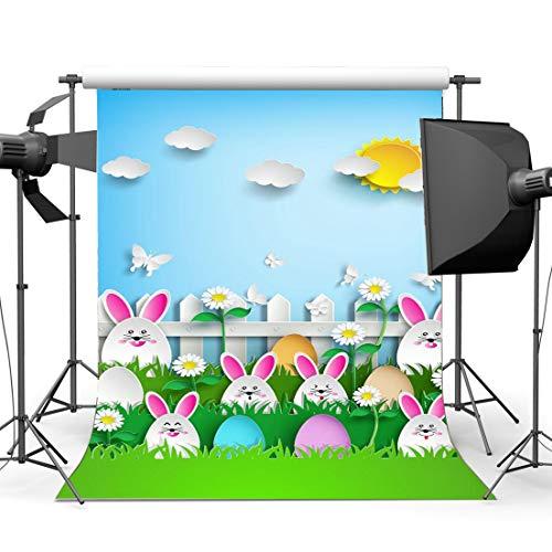 JoneAJ 5X7FT Happy Easter Bunny Hintergrund Eier Gras Wiese Schmetterling Holzzaun Golden Sun Blue Sky Weiße Wolke Frohe Ostern Frühling Vinyl Fotografie Hintergrund Kinder Foto Studio CA1081