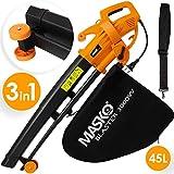 MASKO® Elektro Laubsauger | 3 in 1 | 3000W | Schultergurt und Rollen | Fangsack 45L | Laubbläser Gartensauger Gartenbläser Orange