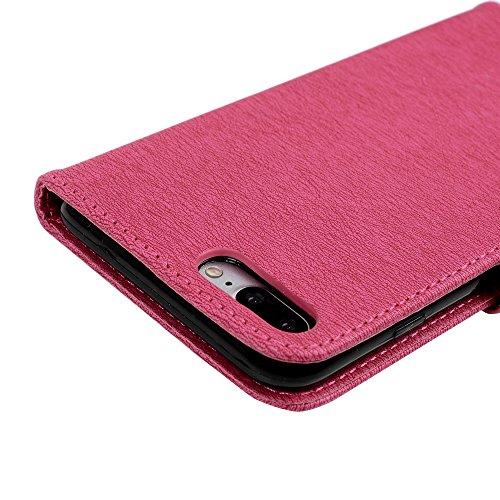 KASOS Coque iPhone 7 Plus 5.5 Pouces Portefeuille en PU Cuir Protecteur Support à Rabat Magnétique Couverture Antichoc Housse Étui pour iPhone 7 Plus Motif Relief d'Ours - Rose Rouge Rose Rouge