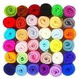 SOLEDI Filzen von Wolle Roving 36 Farben Merinowolle Fiber Roving für Nadelfilzen DIY Einweg