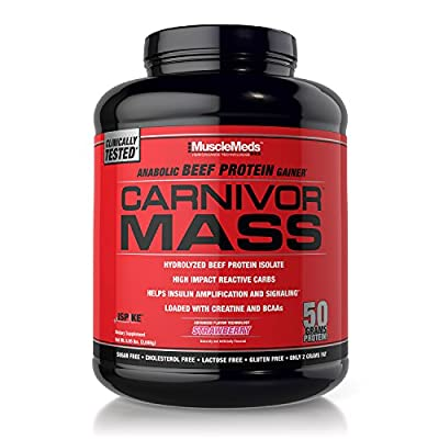 MuscleMeds Carnivor Mass Anabolic Beef Protein Gainer, Strawberry, 6 Pound from Maximum Human Performance