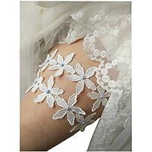 Lemandy Boda Garters para Brides par de novia Liga de novia legband TD001 plata