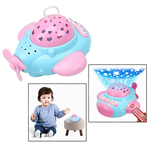 OFKPO LED Projektor Lampe mit Musik,Sternenhimmel Nachtlicht Projektor Spielzeug für Baby Kinder(Flugzeug)