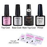 Elite99 Esmaltes Semipermanentes de gel UV LED, 4pcs Kit de Esmalte para Uñas, Base coat Top Coat sermipermanente, Top Coat Mate y Primer para uñas Gel Soak Off, con 10cps de Removedores como Regalo