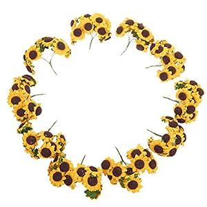 WINOMO 100pz flor artificial Girasol Ramo Decoración para Boda Casa