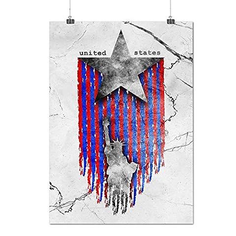 Vereinigt Staaten Star USA Mattes/Glänzende Plakat A2 (60cm x 42cm) | Wellcoda