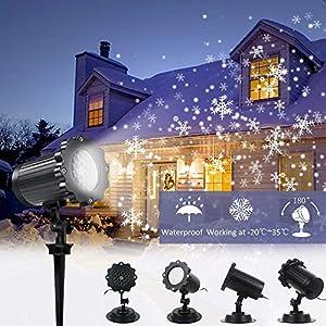 Proiettore Luci LED Natale, Neve FloodLight, Luci Natale Esterno Impermeabile, Faretto rotante a forma di nevicata per… 10 spesavip