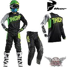 Motocross Combo Jersey Camiseta Pantalón Negro Verde Thor Pulse Offroad Cross Quad ATV MX SX
