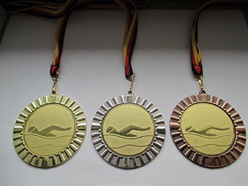 Fanshop Lünen Medaillen Set - Große Metall 70mm - Gold, Silber, Bronze, Schwimmen - Schwimmensport - mit Alu Emblem 50mm - (Gold) - Medaillenset - mit Medaillen-Band - (e107) -