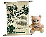 #8: Gift For Girls - Happy Birthday Scroll Card With Happy Birthday Teddy