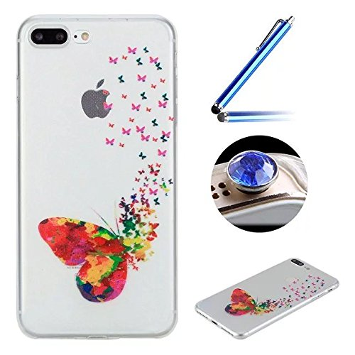 Etsue Custodia iPhone 7 Plus Trasparente,Colorate Dipinto Modello Con Disegni,iPhone 7 Plus Cover in Silicone Tpu Flessible Sottile Antiscivolo e Antigraffio Protettivo Cover Bumper Case Per iPhone 7  Farfalla Colorata