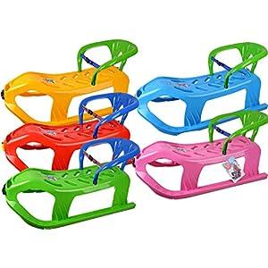 MARMAT Schlitten Kinderschlitten Kunststoff Rodel mit Lehne mit Zugseil 5 Farben 90 cm