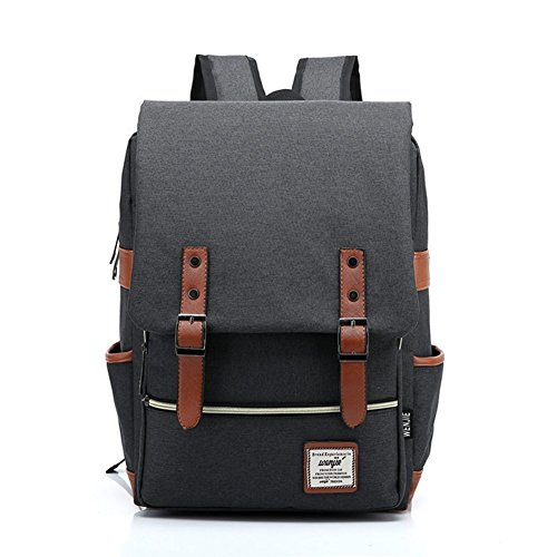 Retro tessuto Oxford Zaini Laptop zaino zaino scuola cartella zaino Daypacks per ragazzi ragazze studenti Hellblau nero