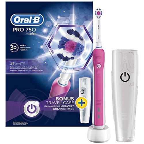 Oral B Pro 750 Pink Cepillo de Dientes con Estuche de Viaje, Rosa