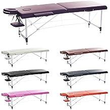 H-ROOT Mesa de 2 Secciones Ultraligera Camilla de Aluminio Portatil Mesa de Masaje Terapia Tatuaje Salón de Belleza Reiki Sanación Masaje Sueco con Bolsa de Transporte GRATIS (10.3KG) (púrpura)