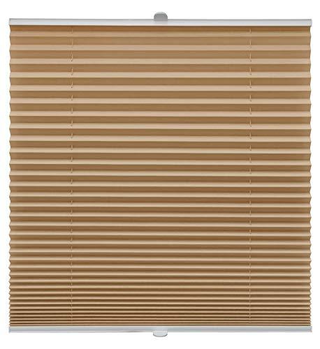 Plissee auf Maß verschiedene Farben für alle Fenster Montage in der Glasleiste Blickdicht mit Spannschuh Sonnenschutzrollo Fensterrollo Plissee Rollo Cappuccino Breite: 91-100 cm, Höhe: 101-150 cm