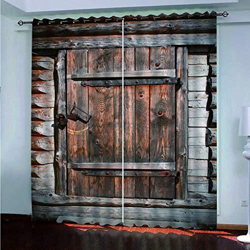 Hao Sai's shop Cortinas Opacas Impresión 3D Puerta De Madera Antigua Suave...