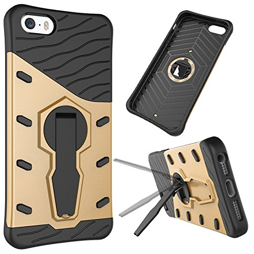 iPhone Case Cover 2 in 1 Neue Rüstung Tough Style Hybrid Dual Layer Rüstung Defender PC Hartschalen mit Stand Shockproof Case ​​für iphone 5S SE ( Color : Blue , Size : Iphone 5S SE ) Gold