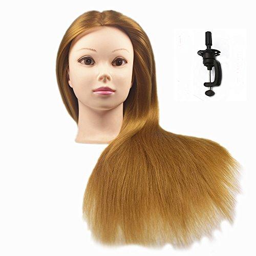 Übungskopf Friseur 100% Synthetik haar Trainingskopf Frisurenkopf 66 cm Trainingsköpfe für Friseure Mit Halter