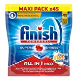 Finish All in One Max Détergent Lave-Vaisselle Tâches Tenaces 45 Tablettes
