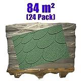 24er Pack Dachschindeln Bieberschwanz Grün 84 m²