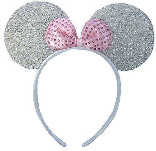 Mouse Kostüm Minnie Original - Silber (Minnie Mouse Glitter Ears) Glitzernden Minnie Maus Ohren Kostüm Haarband