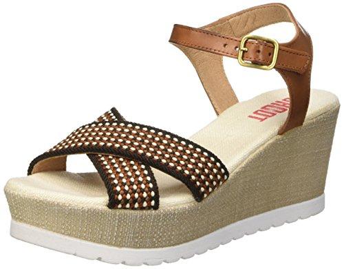 SHOOT Damen Shoes Sh-160181b Sommer Keil Leder Sandale Plateau Schuhe Beige (lona)