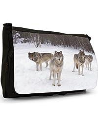 Wolves Black Large Messenger School Bag