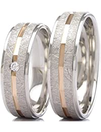 Eheringe 925/- Silber 585/- Rotgold F-30122-060 - DUO Silber Gold 3
