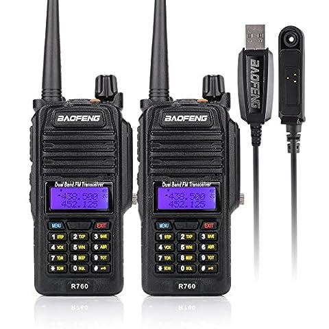 BAOFENG R760 2PCS Waterproof IP57 136-174/ 400-520MHZ Dual Band Ham Two-way radio Walkie Talkie Transceiver+Programming Cable