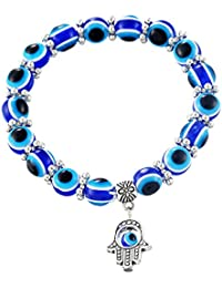 "Young & Forever valentine gifts special ""D'Vine Collection"" Valentines Day S Tibetan Silver Blue Evil Eye Hamsa Hand Bracelet Stretch Wrap Charm Bracelet - B55463"
